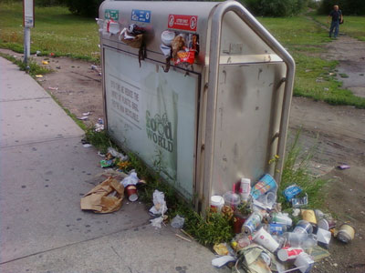 Garbage receptacle in Toronto overflowing