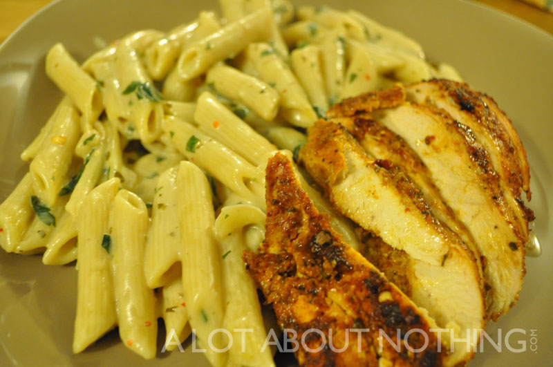 Jerk Chicken with Penne Pasta in a Cream Sauce