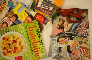 Some of the items I'm using to create my vision board (foam  board used as backing).