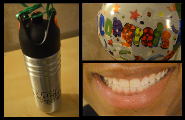 "Post-Invisalign smile and the ""congrats"" presents from my orthodontist!"