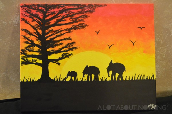 "My first Paint Nite masterpiece, titled ""Safari Sunset"" (instructor Basil Hendy)."